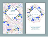 istock Vector banners set with forget me not, tulips and violets flowers. 960821938