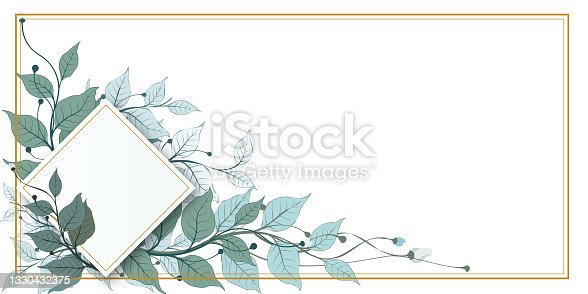 istock Vector banners set with green leaves on white background. Exotic botanical design for cosmetics, perfume, beauty salon, travel agency, florist shop. Best as wedding invitation cards 1330432375