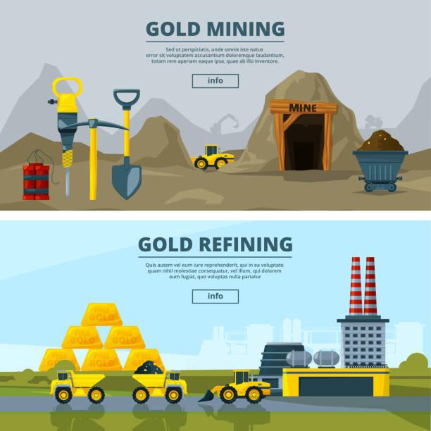 bildbanksillustrationer, clip art samt tecknat material och ikoner med vector banners med illustrationer av gruvindustrin - mining