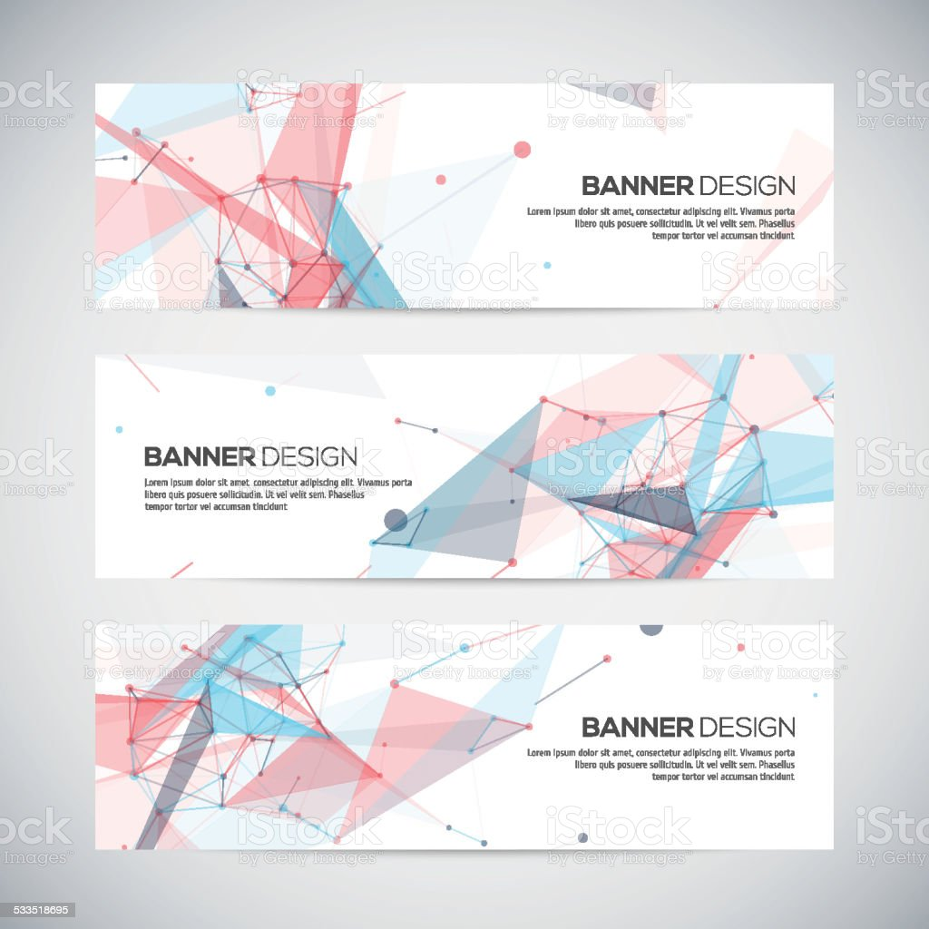Vector banners set with polygonal abstract shapes, circles, lines, triangles vector art illustration