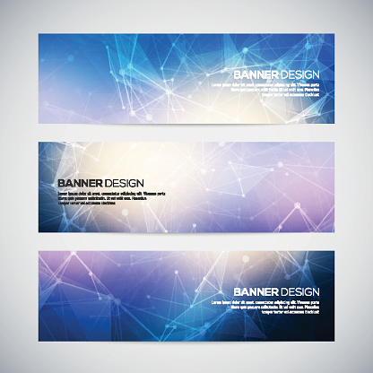 Vector banners set with polygonal abstract shapes, with circles