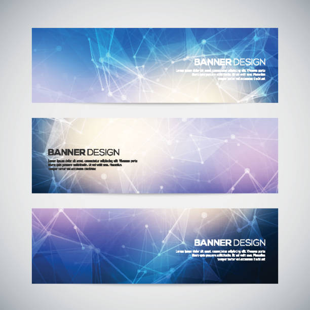 Vector banners set with polygonal abstract shapes, with circles Vector banners set with polygonal abstract shapes, with circles, lines, triangles. Abstract polygonal low poly banners with connecting dots and lines. Connection structure. Vector science background. setter athlete stock illustrations