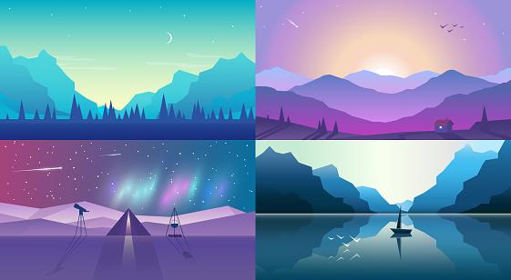 Vector banners set with polygonal landscape illustration. Flat design
