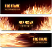 Realistic burning hot fire campfire isolated advertisement banners set. Vector illustration. Fire flame strokes. Horizontal banners. Fire frames. Fiery cards set.