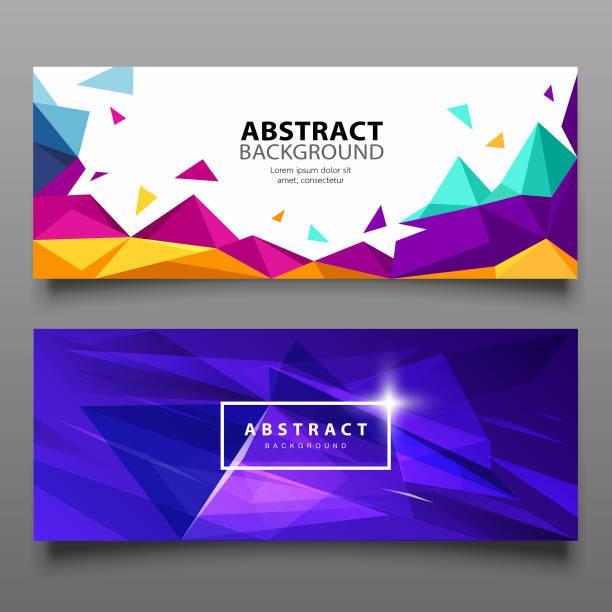ilustraciones, imágenes clip art, dibujos animados e iconos de stock de vector banners triángulo abstracto colorido diseño geométrico - fondos coloridos