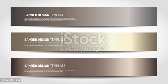Vector banners with abstract background. Bronze Website headers or footers design