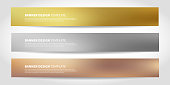Vector banners with abstract geometric background. Website headers or footers design. Gold, silver, bronze colors