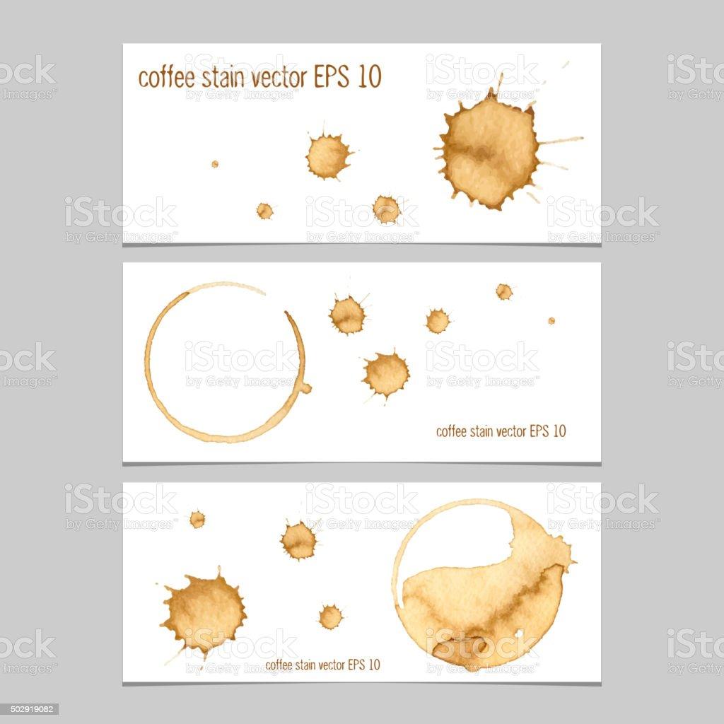 Vector banners with coffee stain watercolor. vector art illustration