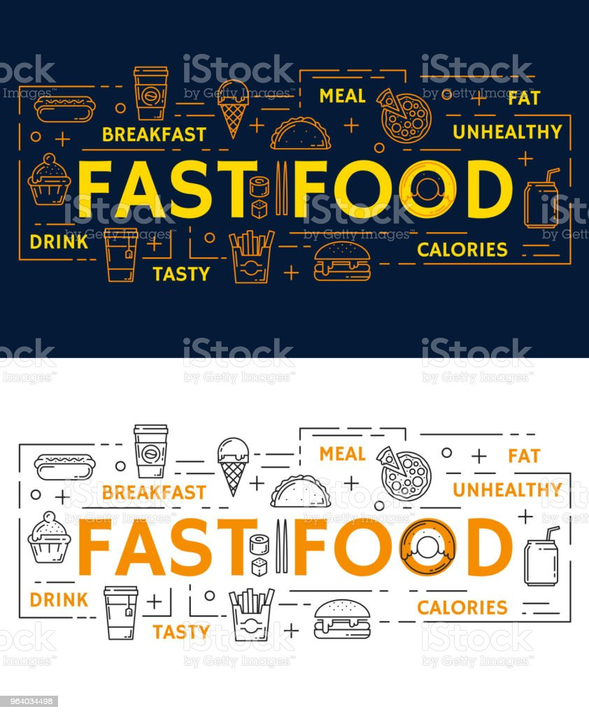 Vector banners with fast food - Royalty-free Banner - Sign stock vector