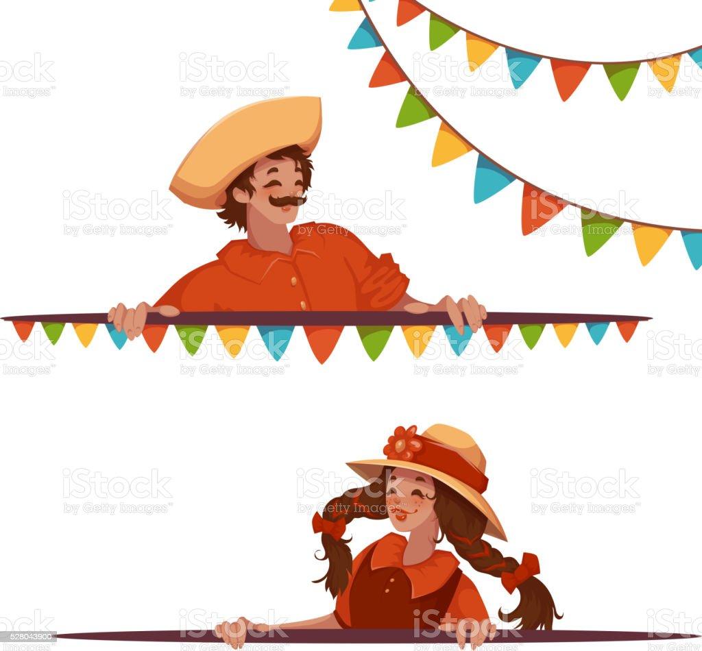 Banners de vector con niña y niño en Brasil de fiestas juninas - ilustración de arte vectorial