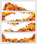 istock Vector banners with orange pumpkins and autumn leaves. 518484911