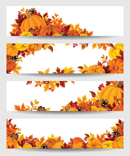Vector banners with orange pumpkins and autumn leaves. Set of four vector banners with orange pumpkins and colorful autumn leaves. pumpkin stock illustrations