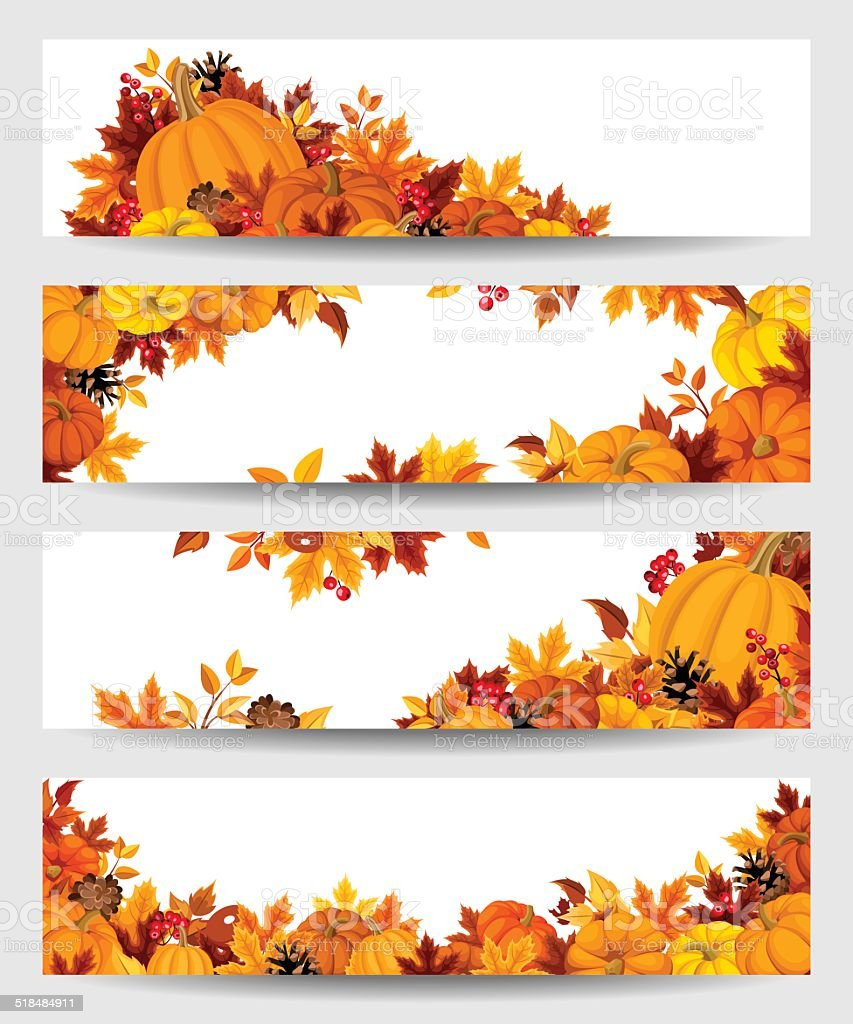 Vector banners with orange pumpkins and autumn leaves. vector art illustration