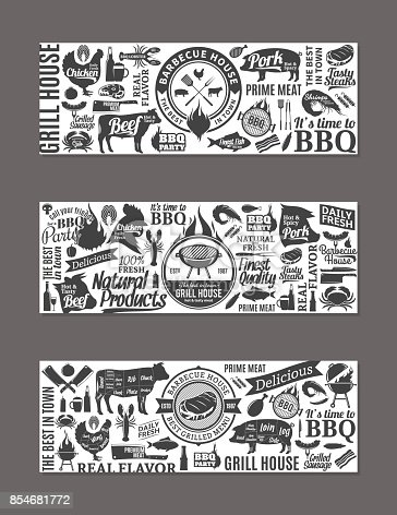 istock Vector barbecue, grill and steak house banners 854681772