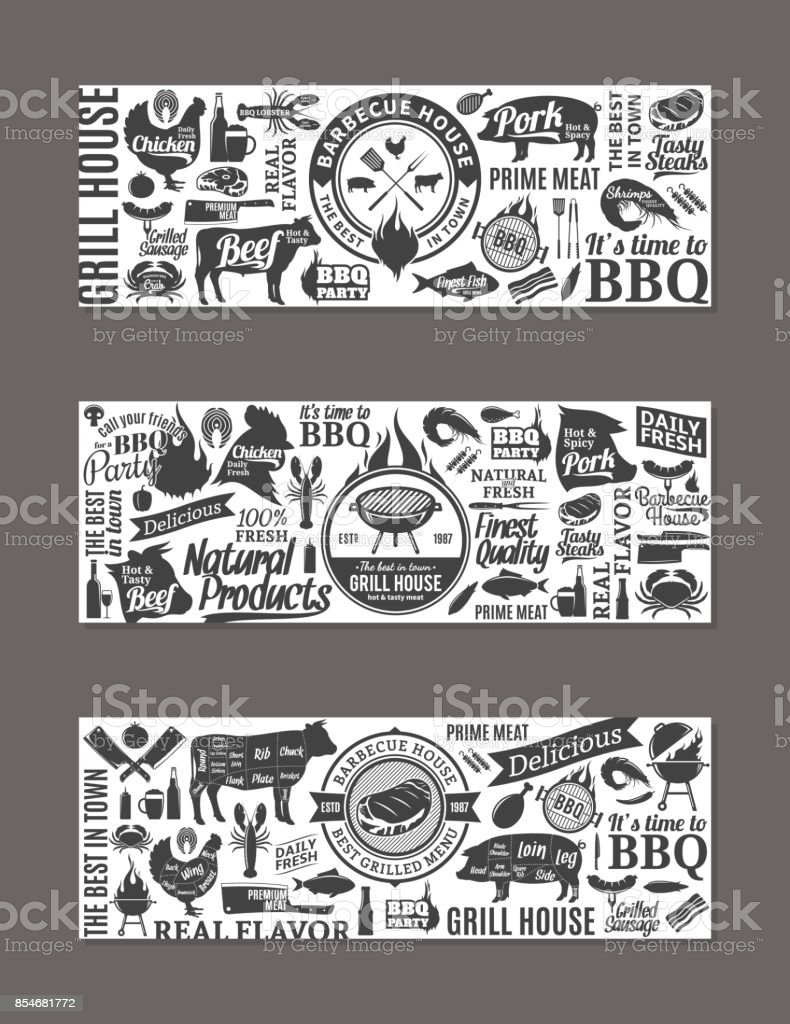 Vector barbecue, barbecue en steak house banners​​vectorkunst illustratie