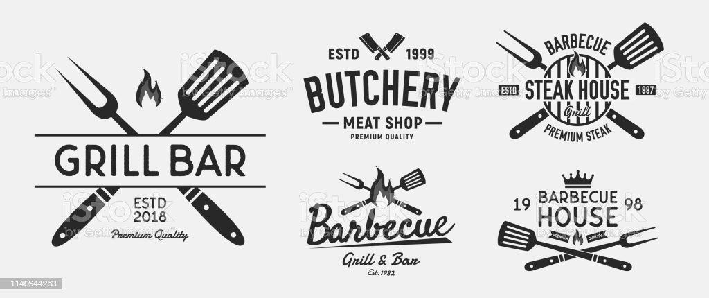 Vector Barbecue Logo Set 5 Vintage Steak House Emblems