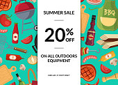 Vector barbecue or grill elements horizontal sale background. Illlustration of bbq advertising, barbecue banner and poster