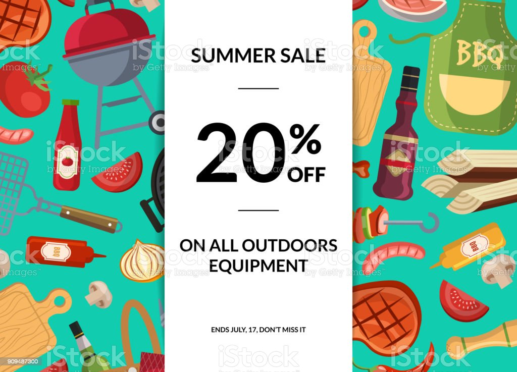 Vector barbecue or grill elements horizontal sale background vector art illustration