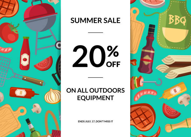 vector barbecue or grill elements horizontal sale background - grilling stock illustrations