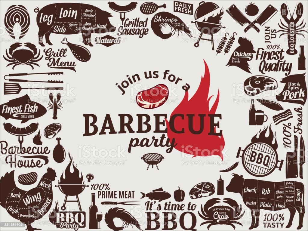 Vector barbecue party invitation - illustrazione arte vettoriale