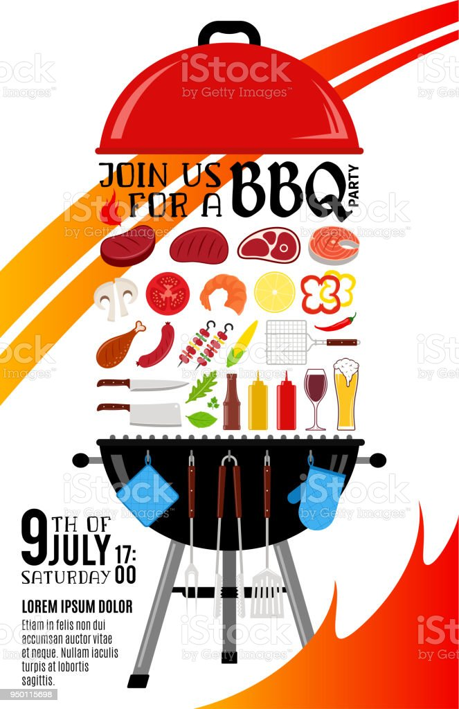 vector barbecue party invitation stock vector art more images of