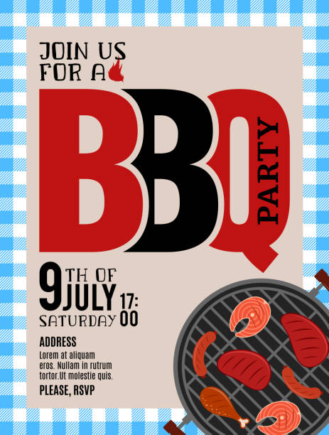 Vector barbecue party invitation vector art illustration