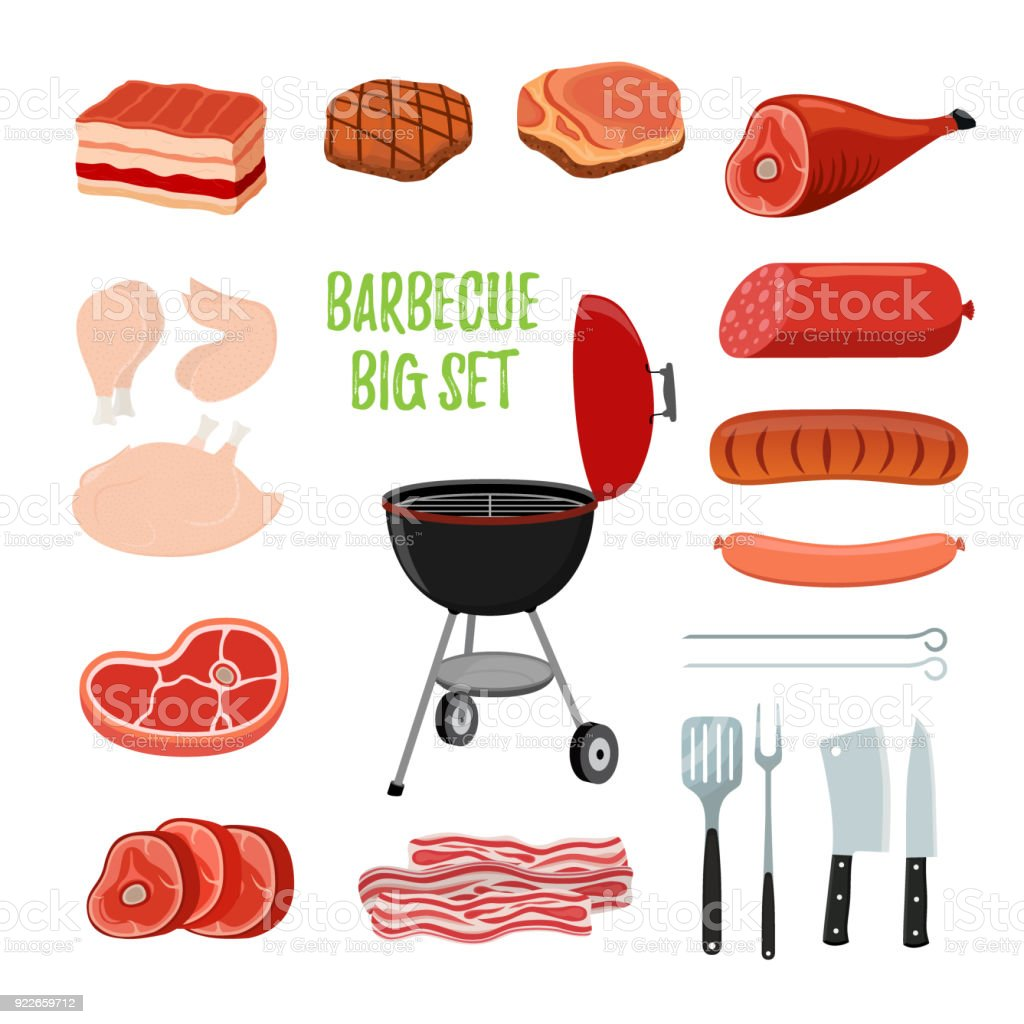 Set barbecue Vector - différentes viandes, stand barbecue. Cartoon style plat - Illustration vectorielle