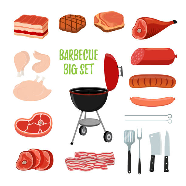 Vector barbecue set - different meat, bbq stand. Cartoon flat style vector art illustration