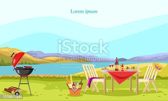 Vector barbeque and picnic banner with brazier, garden furniture, basket with food, wine, fruit and cloth.