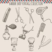 Vector barber shop vintage tools collection.  Pencil hand drawn illustration