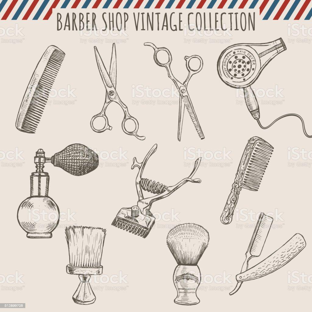 Barbearia ferramentas de vetor vintage coleção. Lápis desenhado à mão de ilustração - ilustração de arte em vetor