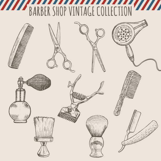 ilustrações, clipart, desenhos animados e ícones de barbearia ferramentas de vetor vintage coleção. lápis desenhado à mão de ilustração - salão de beleza
