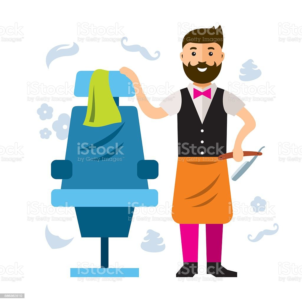 Vector Barbershop Hair Male Salon Flat Style Colorful Cartoon Illustration Royalty Free