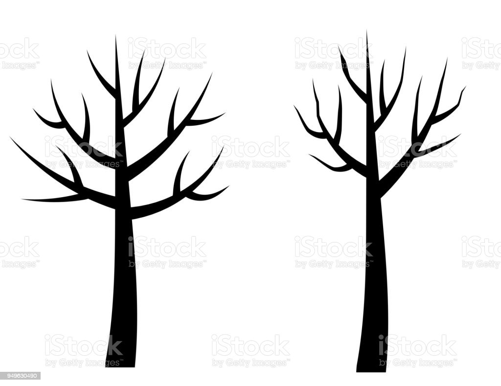 Vector bare tree silhouettes, Black stylized trees without leaves, No leaves cartoon trees vector art illustration