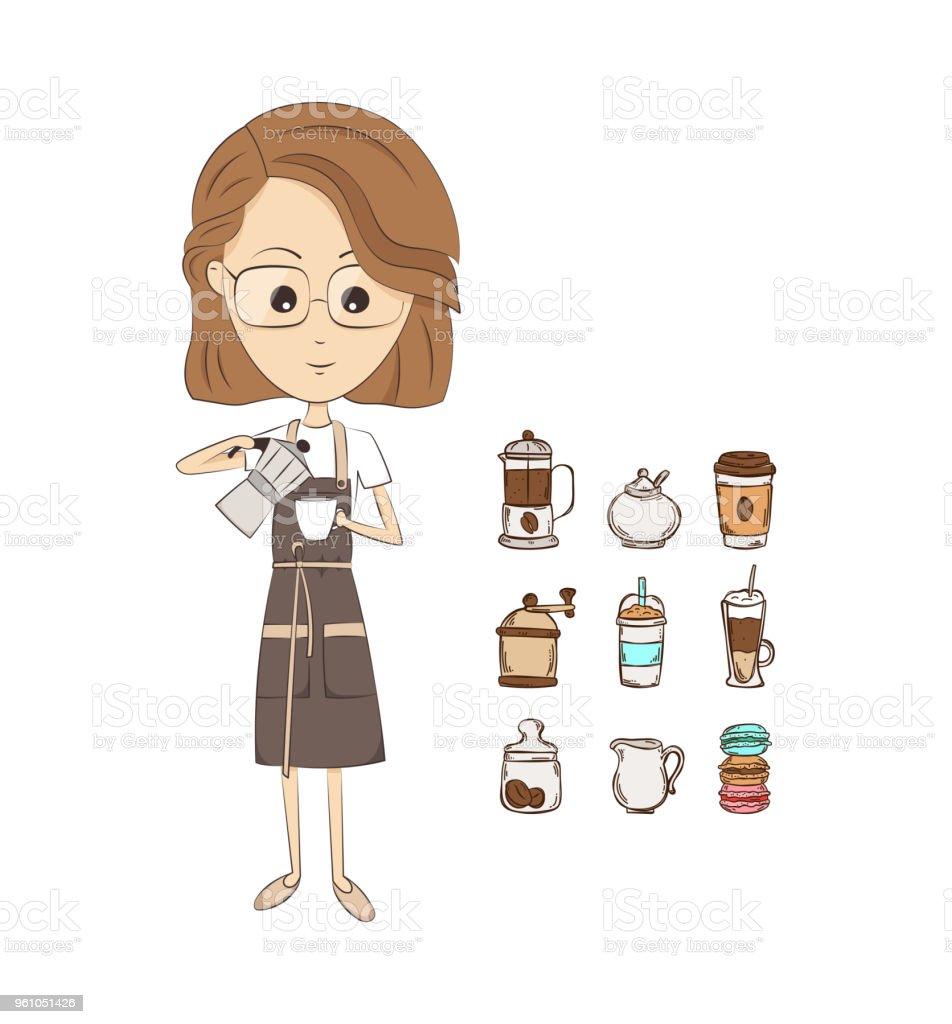 ベクトル バリスタ少女 1人のベクターアート素材や画像を多数ご用意