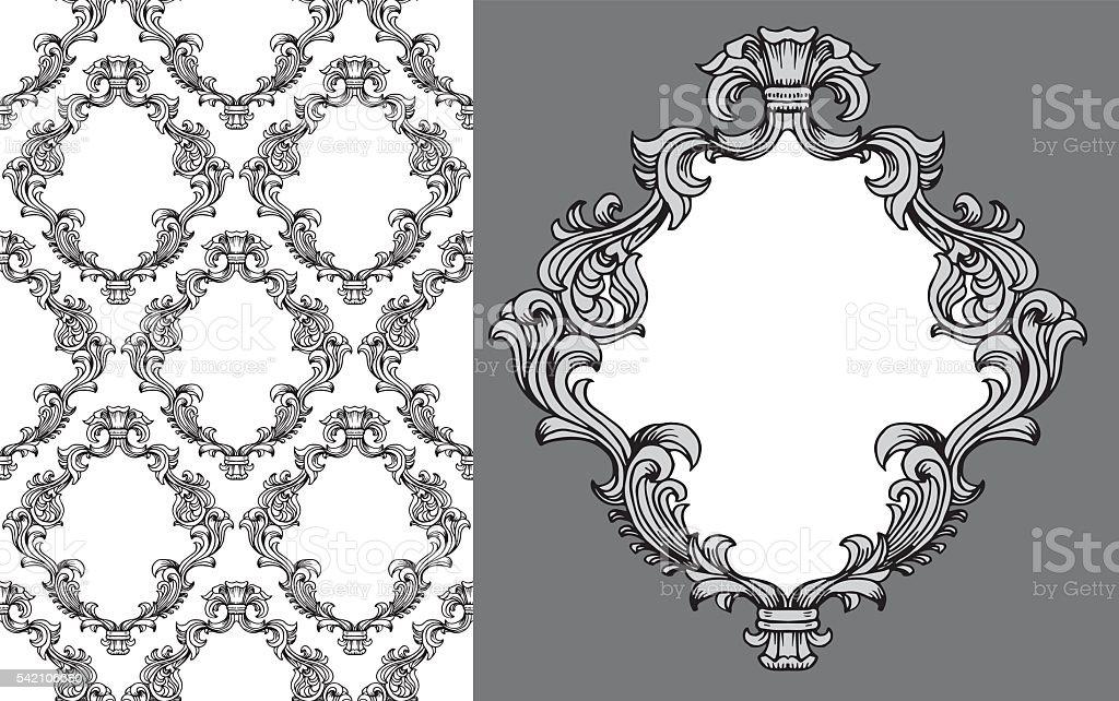 Vector baroque acanthus leaves frame seamless pattern vector art illustration