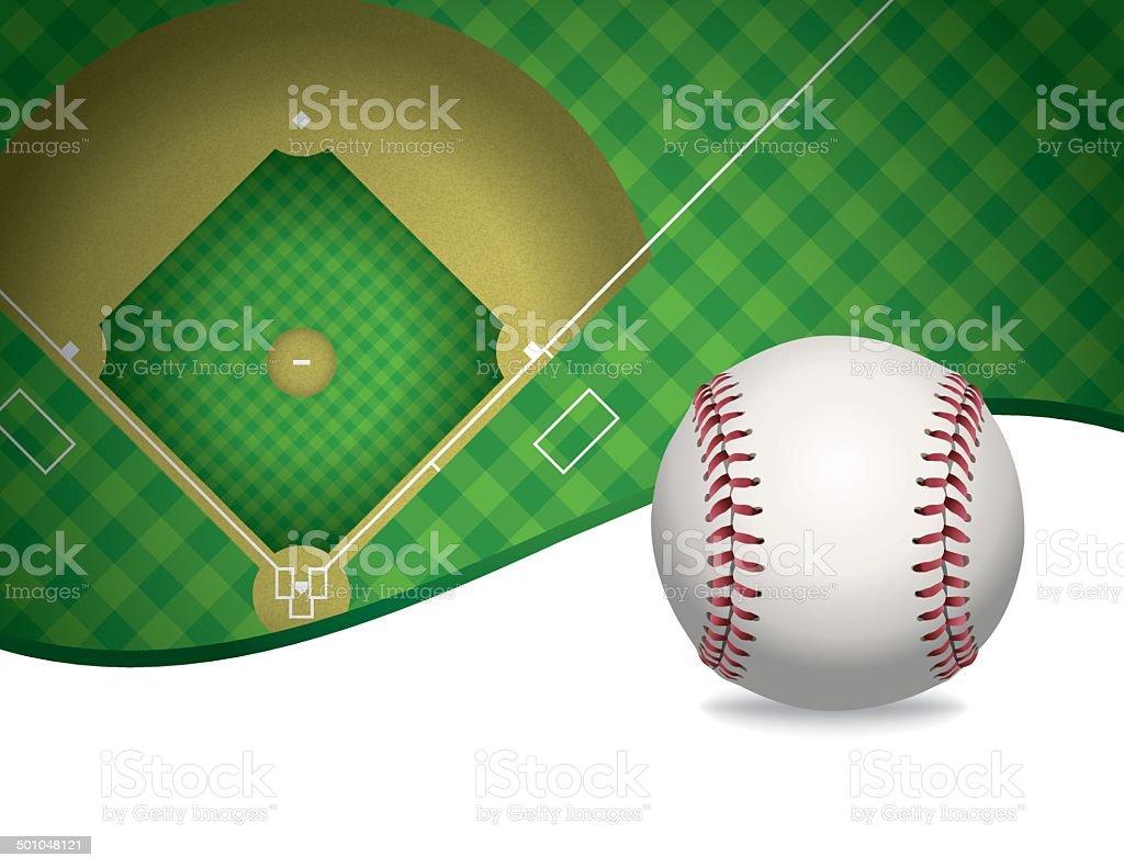 Vektor-Baseball und Baseball-Feld Hintergrund Illustration – Vektorgrafik