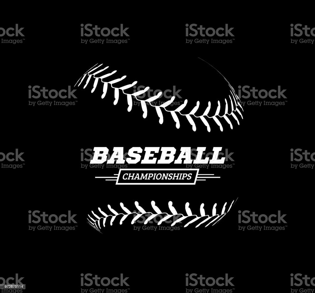 Vector baseball ball on black background.