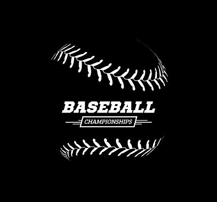 Vector baseball ball on black background.