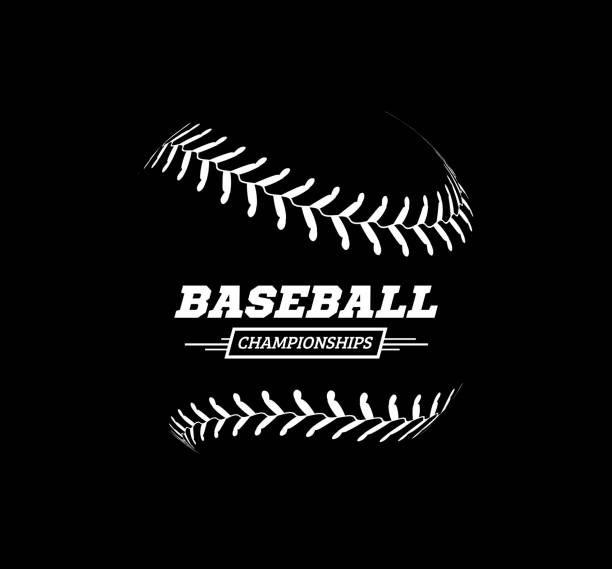 vector baseball ball on black background. - softball stock illustrations, clip art, cartoons, & icons
