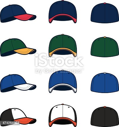 Vector baseball caps, perfect for your team, lineup card or event. Customize with your own logos, colors and text.