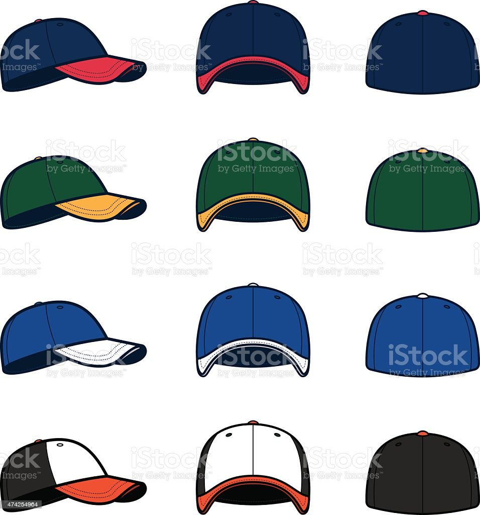 Vector Baseball Caps vector art illustration