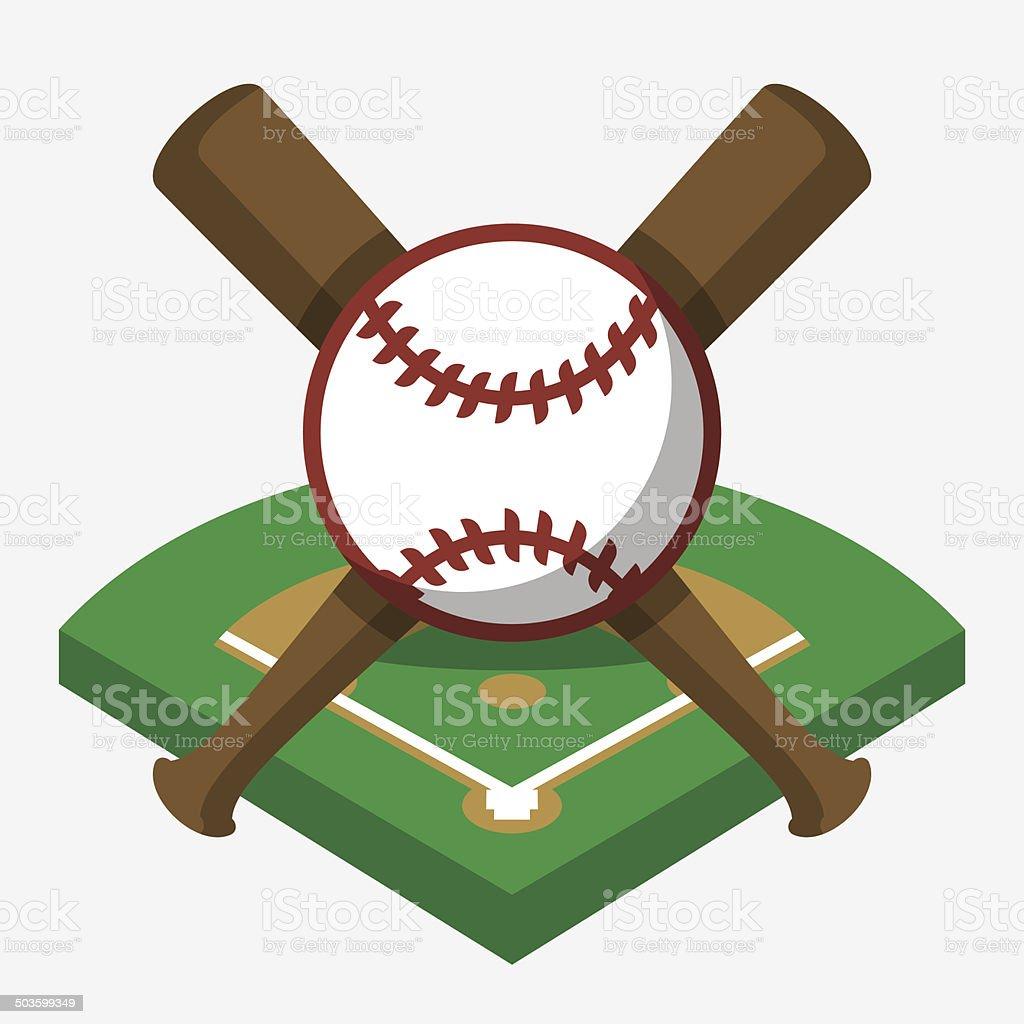 Vector baseball field, ball, and bat composition vector art illustration