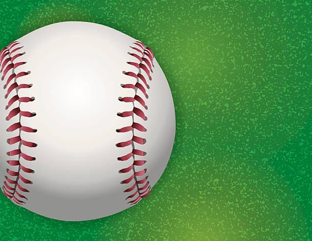 Vector Baseball on Textured Grass Illustration vector art illustration