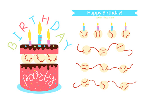 Vector baseball. Set of elements for design of postcard, poster, banner for birthday, party. Illustration with cake and candles.