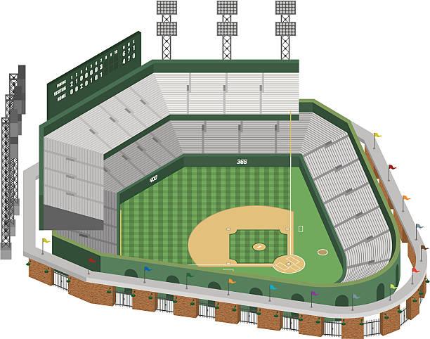 vector baseball stadium - baseball stadium stock illustrations, clip art, cartoons, & icons