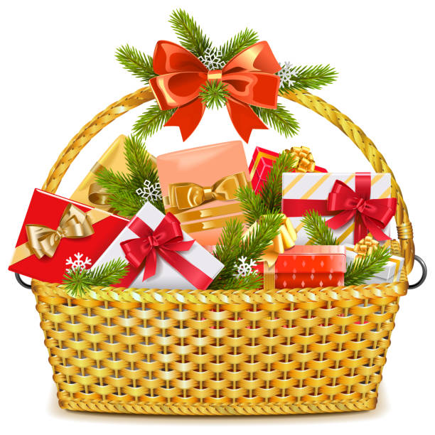 Vector Basket with Christmas Gifts vector art illustration