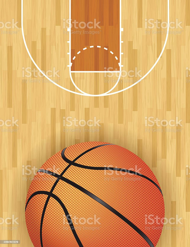 Vector Basketball and Hardwood Court vector art illustration