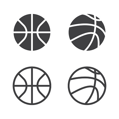 Vector Basketball Ball Icon Set Isolated on White Background.