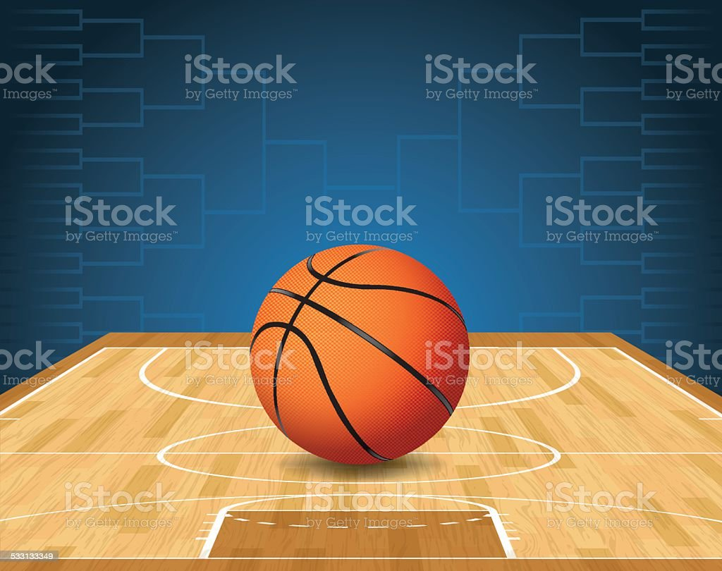 Vector Basketball Court and Ball Tournament Illustration vector art illustration